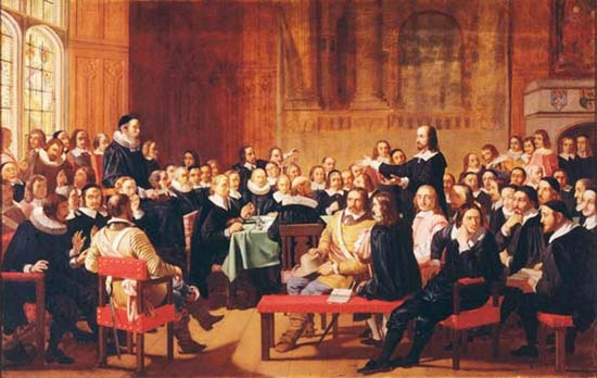 Asamblea de Westminister - Public Domain Painting from http://upload.wikimedia.org/wikipedia/commons/2/29/WestminsterAssembly.jpg